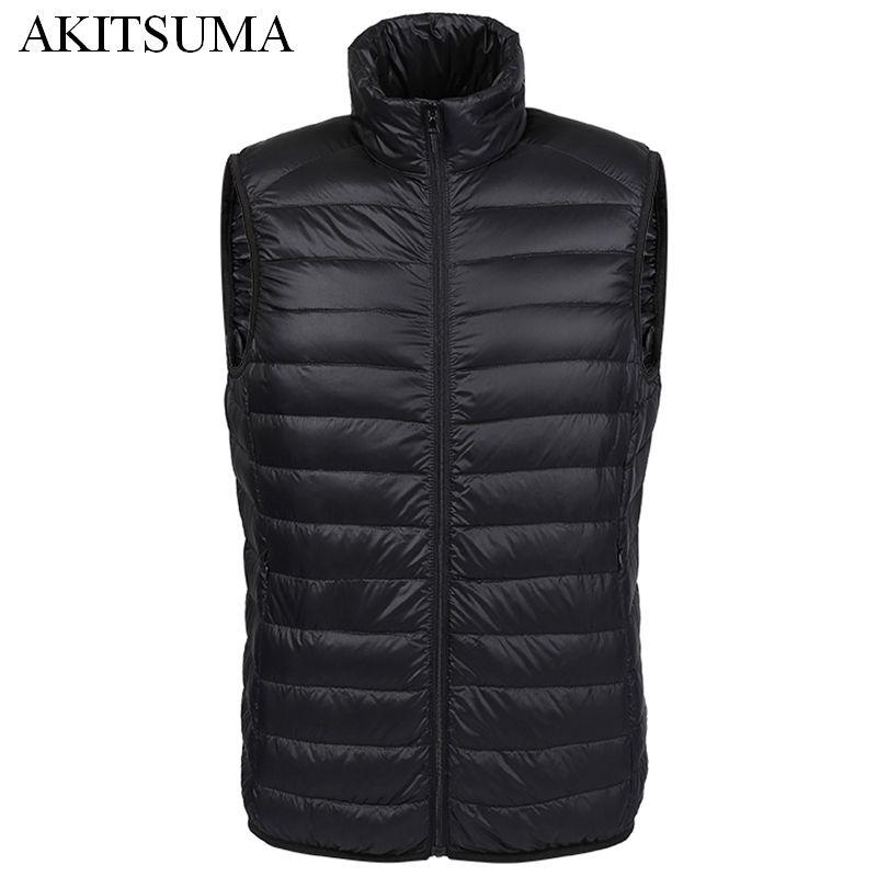 Winter duck down vest men Ultra Light 90% Duck Down Vest loose waistcoat Vest Sleeveless jacket autumn black gray navy AKITSUMA
