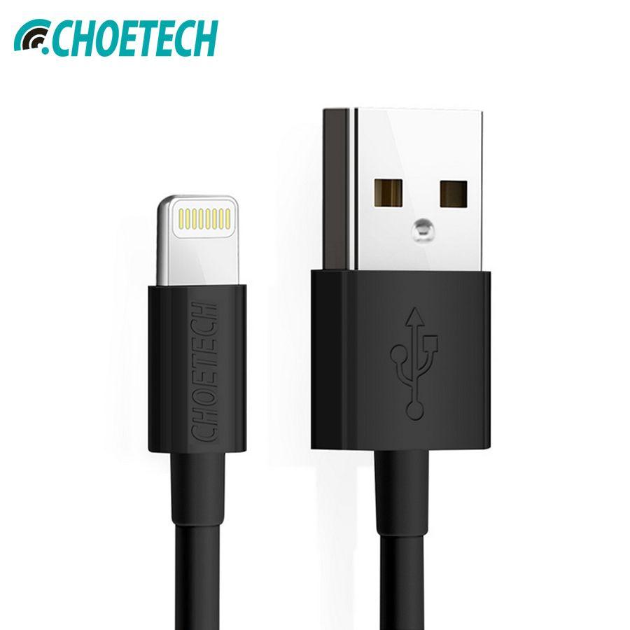 CHOETECH MFi câble Usb 2.4A câble Lightning USB 2.0 chargeur rapide pour iPhone XR XS Max X 8 7 6S Plus pour iPad