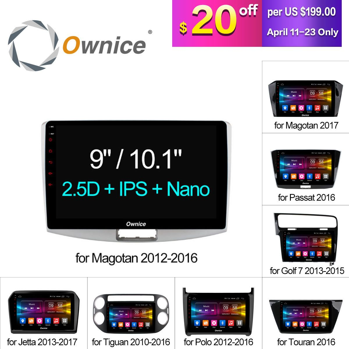 Ownice C500+ Octa Core 10.1/9 Android 6.0 Car Radio DVD player GPS For VW Magotan POLO PASSAT Golf 7/R/GTE Tiguan Touran Jetta