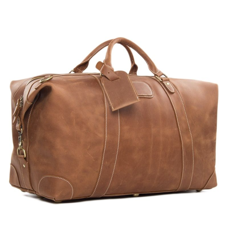 ROCKCOW Vintage Retro Look Genuine Leather Travel Bag Men Duffle Bag large Capacity Bag DZ07