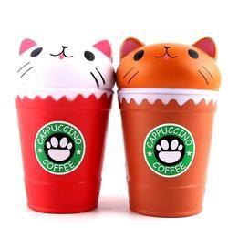 Squish Antistress Kawaii Squishies Slow Rising Jumbo Scented Cappuccino Coffee Cup Cat Funny Toys 30S8515 drop shipping