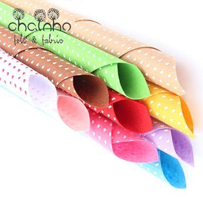 Imprimé Non Tissé Tissu 1mm D'épaisseur Feutre De Polyester/Home Décoration Faisceau Pour la Couture Poupées Artisanat 10 pcs Coeur pattern30x30cm