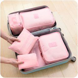 Colección bolsa de viaje 6 unids/set hombres y mujeres equipaje Bolsas de viaje bolsa de poliéster impermeable embalaje equipaje