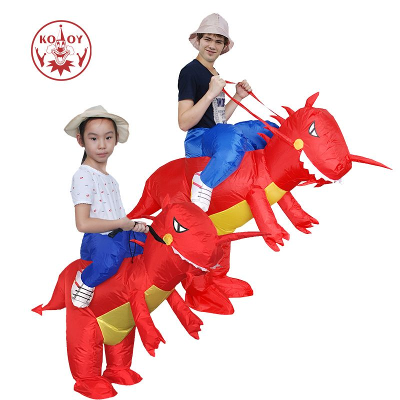 KOOY Factory Outlet Inflatable Dinosaur Costume Cosplay Cool Men Ride on Red Dino Halloween Costumes for Adult Kids
