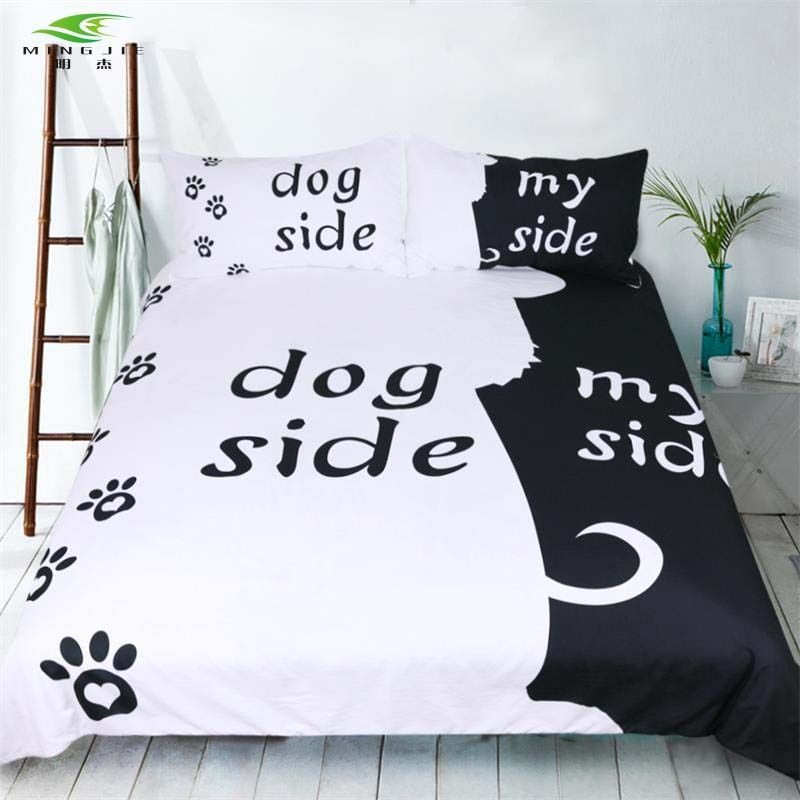 Black White Dog Cat <font><b>Side</b></font> My <font><b>Side</b></font> bedding sets US Twin Full Queen King Size 3 pcs Bed Linen Couples Duvet Cover Set Pillowcase