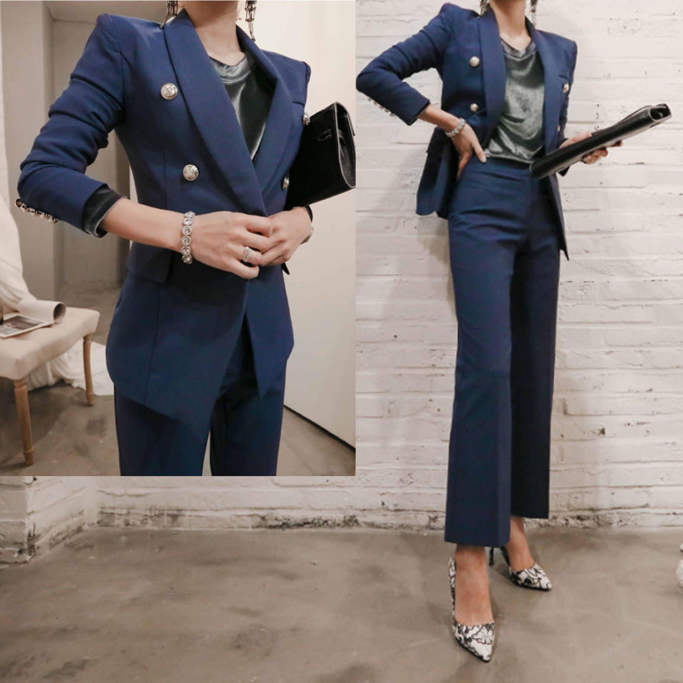 European and American brand new suit small suit temperament ladies waist flared trousers suit suit female tide dd28