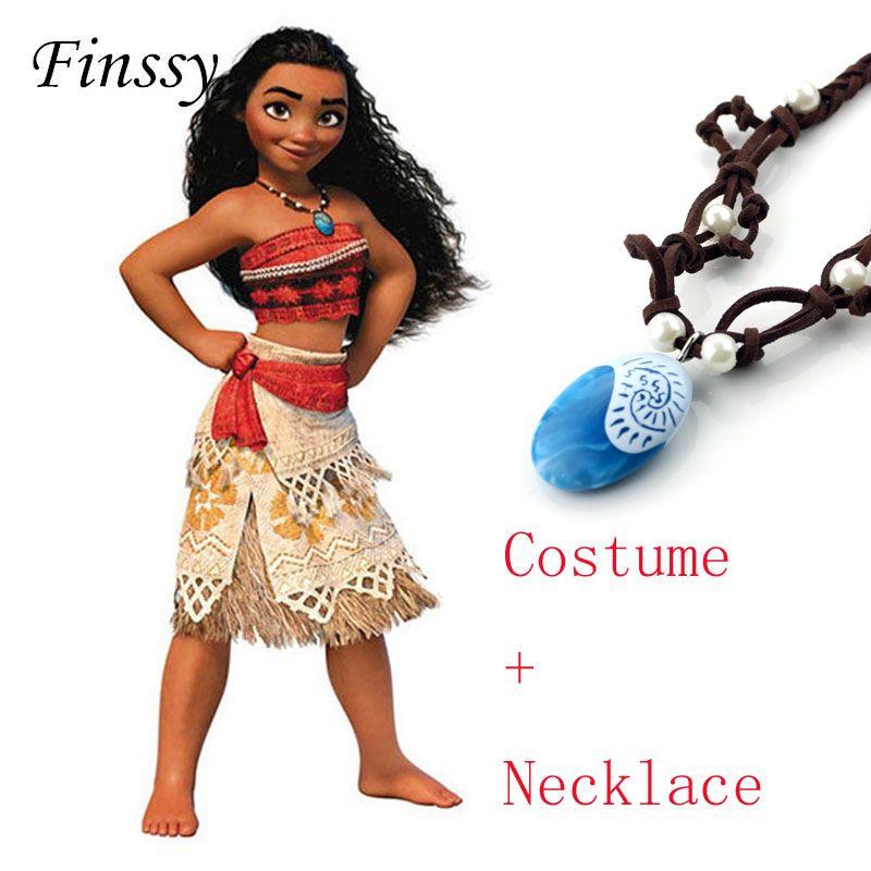 Princesa Moana Cosplay traje para niños Moana traje con Collar para mujeres de Halloween Disfraces para niños Niñas regalo