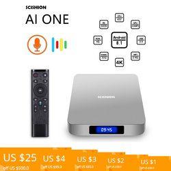 SCISHION AI один умный ТВ Box android 8,1 4 К 2 г/16 г Wi-Fi BT4.0 для дисплея медиаплеера Экран голос Управление PK Z28 X96 ТВ коробка