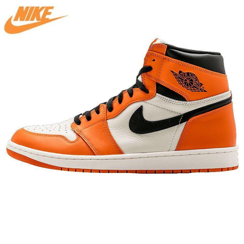 Nike Air Jordan 1 Retro Hohe OG AJ1 Weiß Orange Weiß Rebound herren Basketball-schuhe, Original Außen Sneakers 555088 113