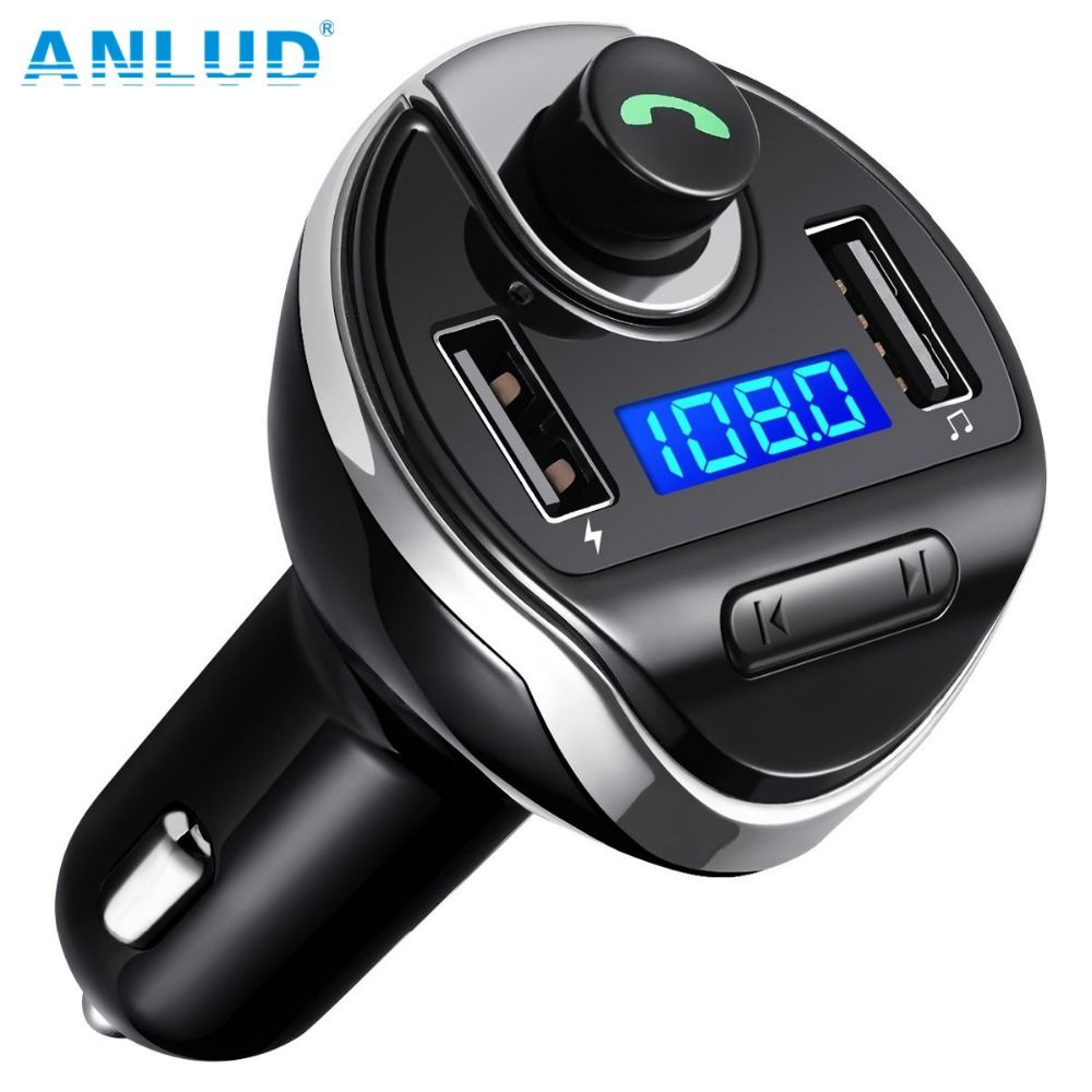 ANLUD Bluetooth Transmetteur FM Sans Fil Lecteur MP3 Radio Transmetteur Chargeur De Voiture avec Double Ports USB Mains Libres Bluetooth De Voiture Kit