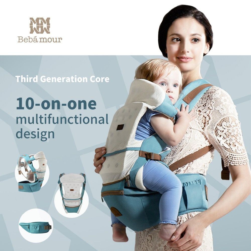 Bebamour Baby Hipseat 10 in 1 Baby Carrier Detachable Baby Sling Wrap Comfortable and Breathable Single Hipseat