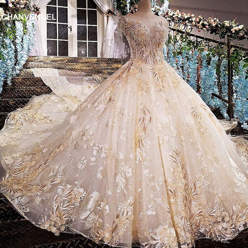 LS00165 vestido longo de festa see through back appliques cap sleeves lace ball gown beading lace evening dresses real photos