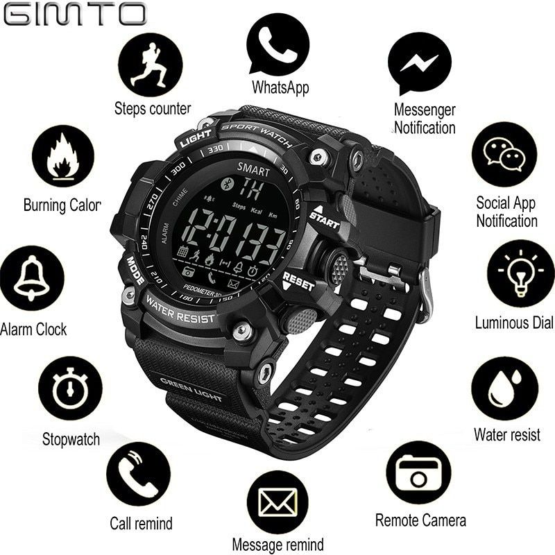 GIMTO Sports Mens Smart Watch Men Pedometer Calories Waterproof Smartwatch Electronic Wrist Watches For Men Digital Bluetooth