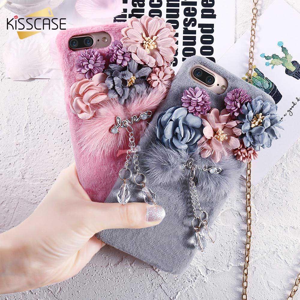 KISSCASE Fleur En Peluche Fourrure De Vison Cas Pour iPhone 6 s 6 7 8 De Luxe Bling Diamant Furry Cas Pour iPhone 8 7 6 S 6 Plus Dur PC couverture