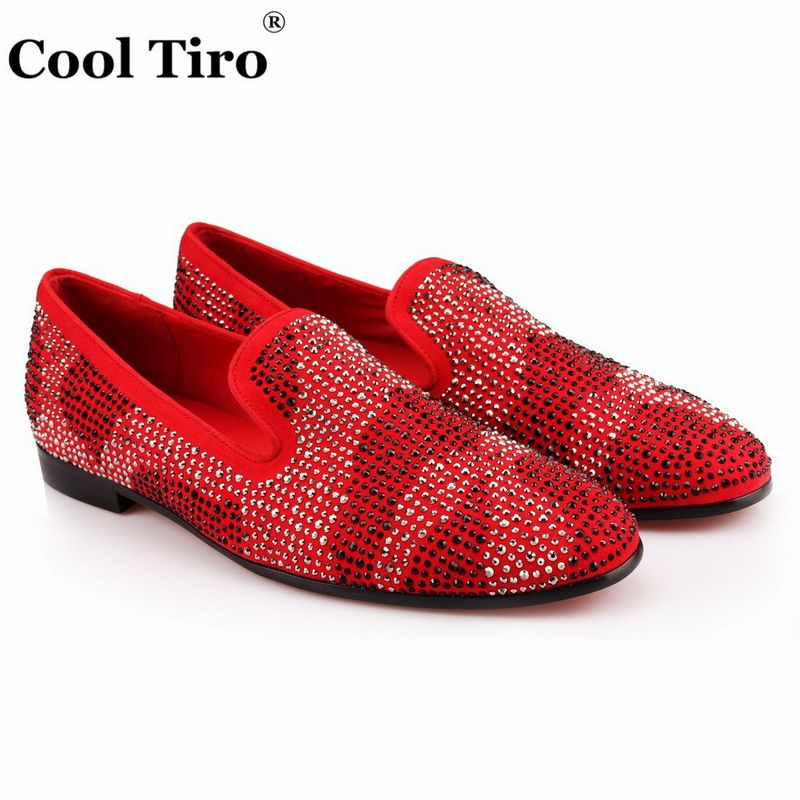 COOL TIRO Fashion Red Cow Suede Rhinestone Loafers Shoes Smoking Slippers Slip on Flats men Party Dress Men's shoes