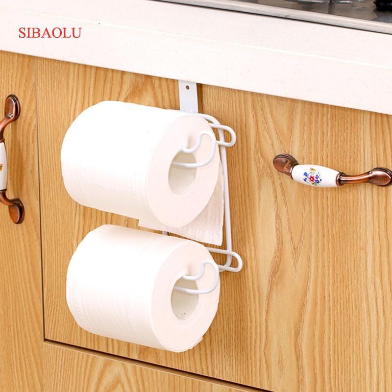 2 Layers Bathroom <font><b>Hanging</b></font> Organizer Toilet Roll Paper Holder Kitchen Cupboard Door Towel Tissue Storage Hanger