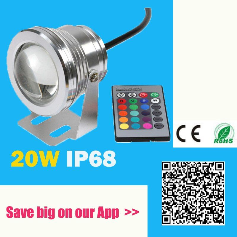 20W 12V Led RGB Underwater Spot Light Waterproof IP68 Fountain Pool Lamp 16 Colorful Change With IR Remote piscina Outdoor Light