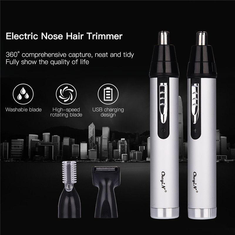 CkeyiN 3 in1 tondeuse de nez d'oreille électrique pour hommes rasoir Rechargeable épilation sourcil Trimer sûr durable Kit d'outils de soin du visage