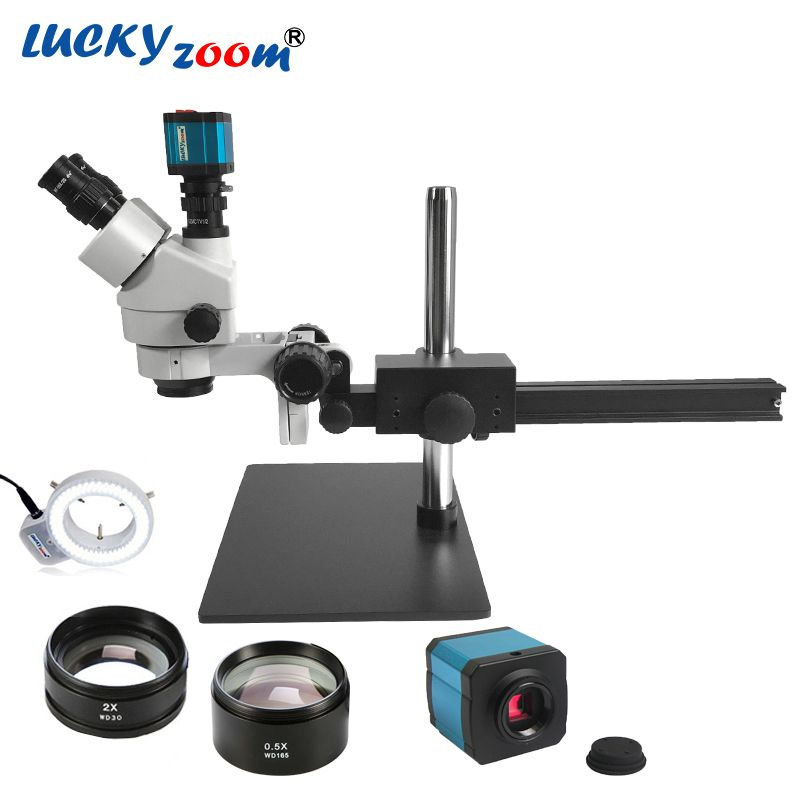 Luckyzoom 3.5X-90X Single Boom Guide Stand Stereo Zoom Trinocular Microscope 14MP Camera 144pcs LED Ring Light For Microscopio