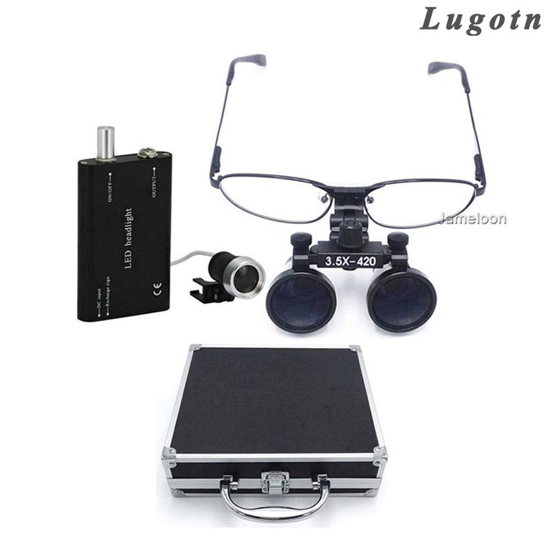 Metal box 3.5 times enlarge removable nearsighted magnifying glasses medical lens led head lamp surgical dental magnifier loupe