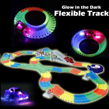 DIY слот создать дорожную Glow гоночной трассе изгиб Flex светятся в темноте сборки Игрушка Гибкий След 166/ 225 шт. с 5 свет автомобили