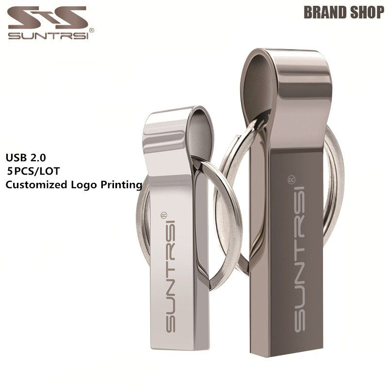 Suntrsi 5pcs/lot Metal USB Flash Drive Waterproof 4GB 8GB 16GB Pendrive Wholesale Price Pen Drive Customized Logo USB Stick 2.0