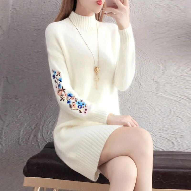 TYJTJY Faldas Mujer Moda 2019 automne et hiver robes de mode remises robe Imitation pull robe à manches longues robe chaude