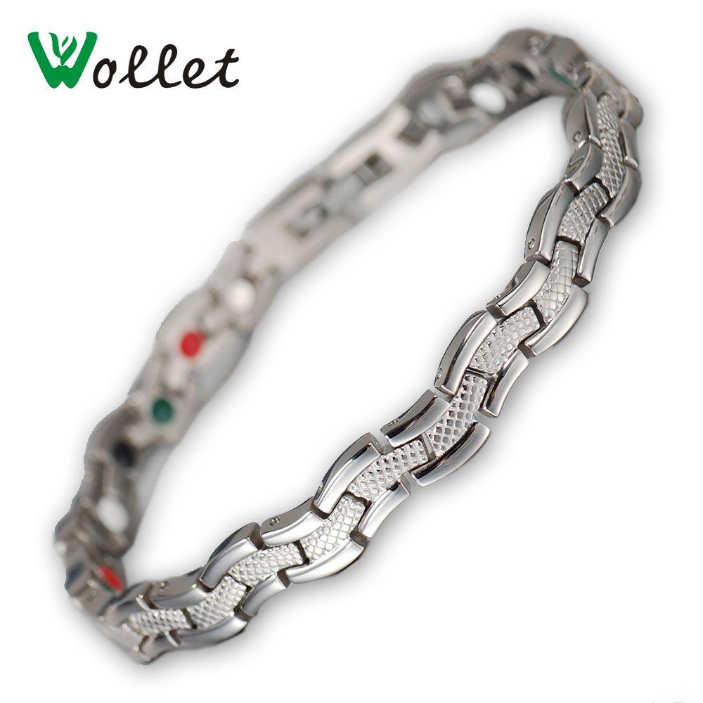 Wollet Bijoux Titane Magnétique Bracelets Pour Femmes Mode Infrarouge Germanium Ions Négatifs Aimants Tourmaline