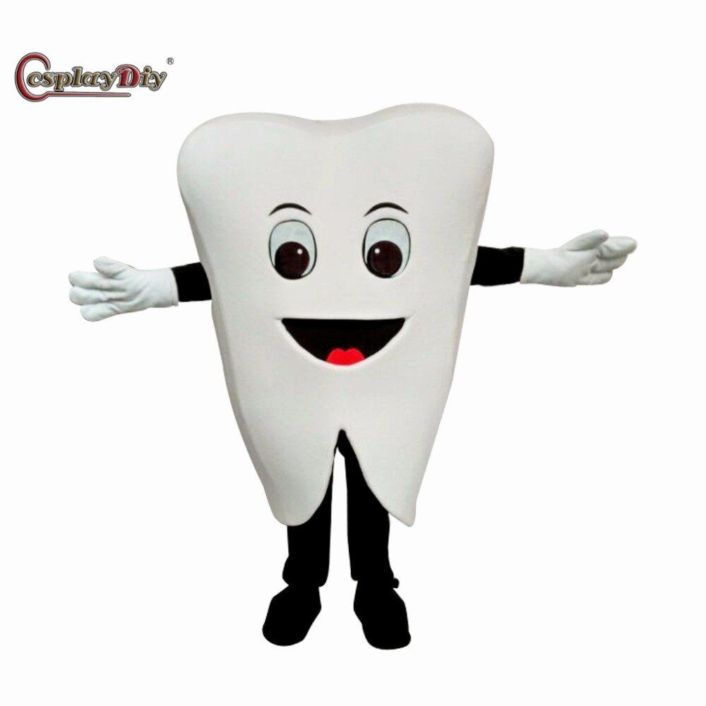 Cosplaydiy Popular Lovely Tooth Plush Mascot Costume Cartoon Animal Cosplay Costumes Halloween Birthday Party Adult Unisex Suit