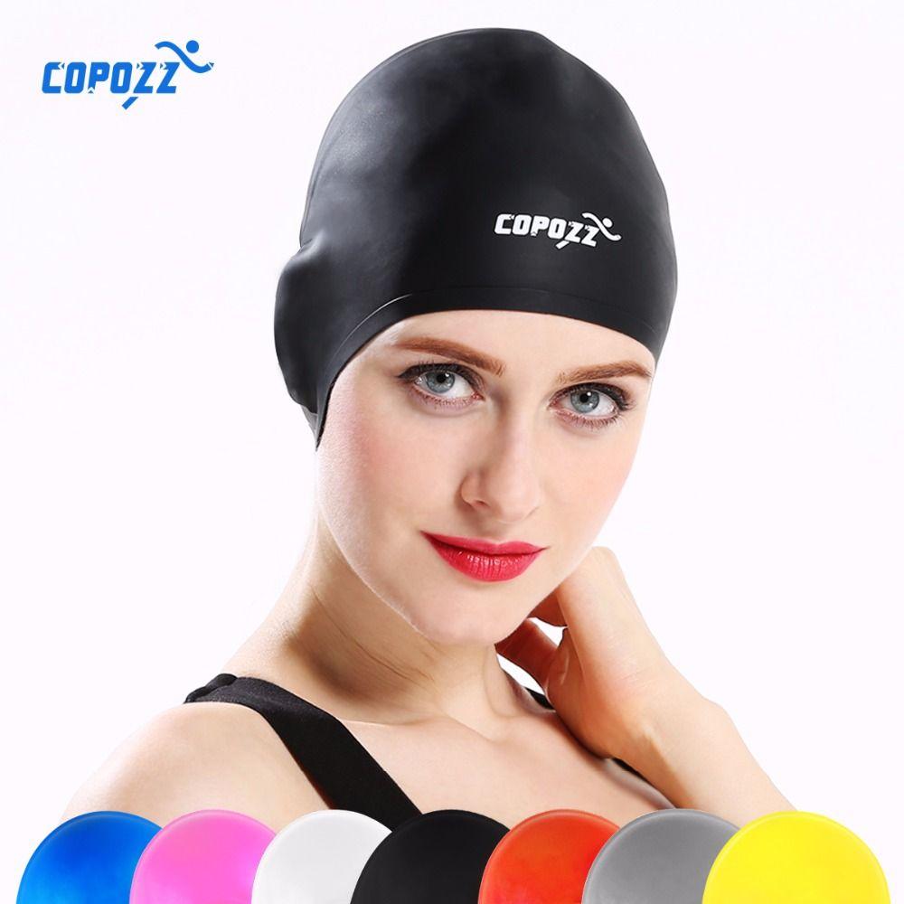 COPOZZ Silikon Wasserdicht 3D Badekappen für Männer Frauen Lange Haare Schwimmen Hut Abdeckung Ohr Knochen Pool