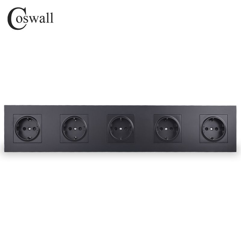 COSWALL Quality Black 5 Way Wall Power Socket Plug Grounded 16A EU Standard Electrical Quintuple Outlet AC 110~250V