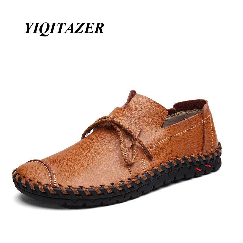 Yiqitazer 2017 nuevos hombres frescos casual Zapatos cuero, suelas de goma Encaje moda cuero Zapatos para barco hombres verano y otoño Tamaño 7-9.5