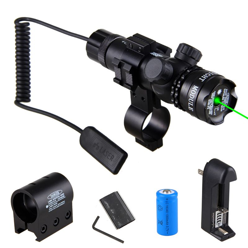 Tactical Hunting Flashlight Rifle Green Laser Dot Sight Scope Adjustable Mount light Gun &16340 Battery Charger Free shipping
