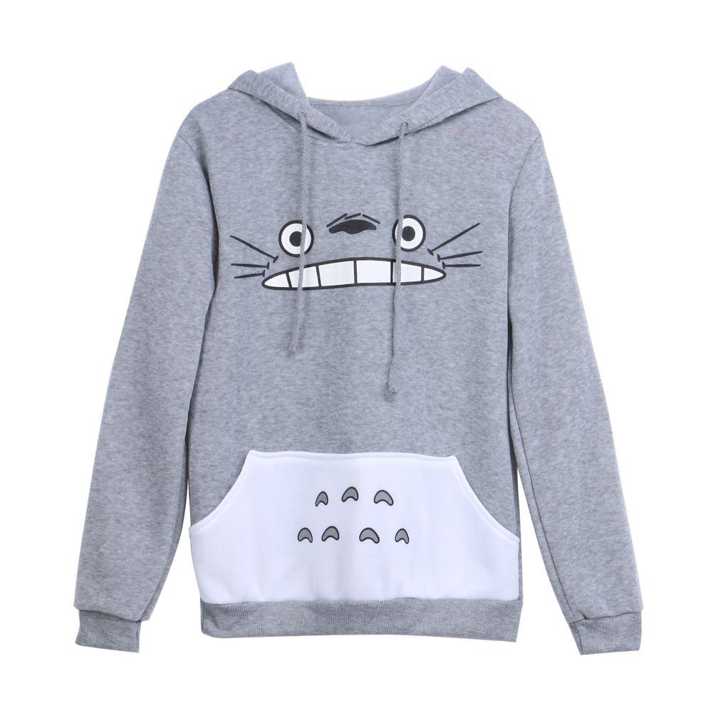 Nouvelles Femmes À La Mode Dessin Animé Totoro À Capuche Casual Sweat Gris Unisexe Pull À Manches Longues Manteau Femelle Mâle Hoodies
