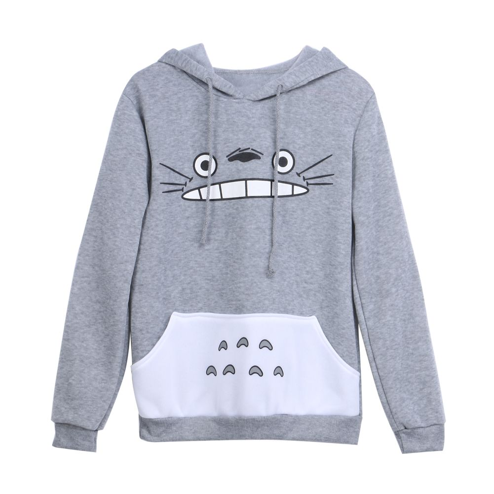 Nouvelles Femmes À La Mode Dessin Animé Totoro Hoodie Dames décontracté Sweat Gris Unisexe Pull À Manches Longues Manteau Femelle Mâle Hoodies