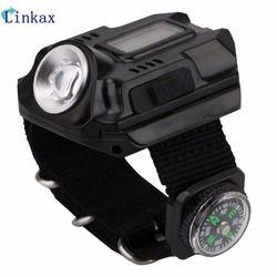 XPE Q5 R2 LED Wrist Watch Senter Torch Cahaya USB Pengisian Wrist Model Taktis Senter Isi Ulang