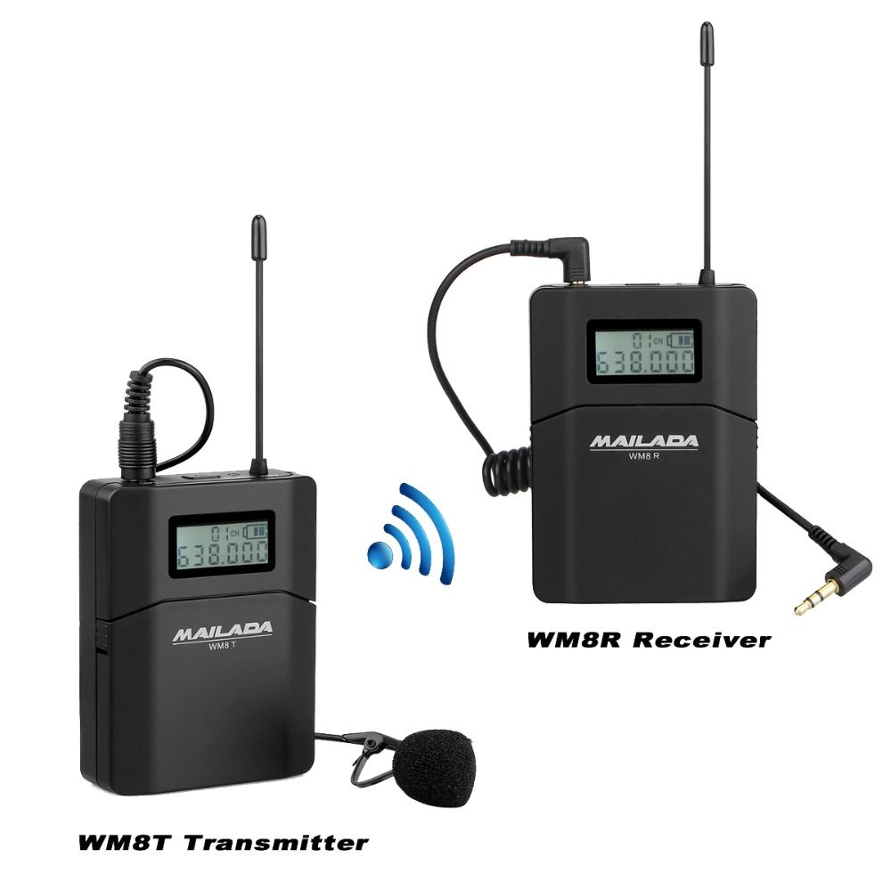 WM8 Professional UHF Wireless Microphone System Lavalier Lapel Mic Receiver + Transmitter for Camera Recorder DSLR Phone