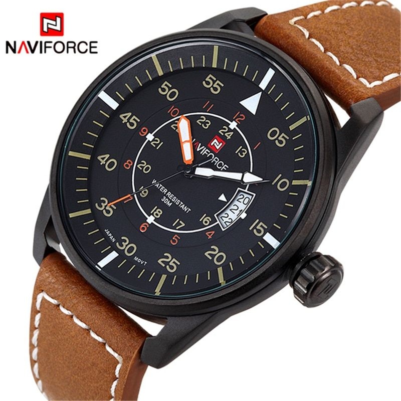 Relogio Masculino Fashion Watch <font><b>NAVIFORCE</b></font> Quartz Watch Sport Military Watches Men Luxury Brand Leather Strap Men Clock 9044