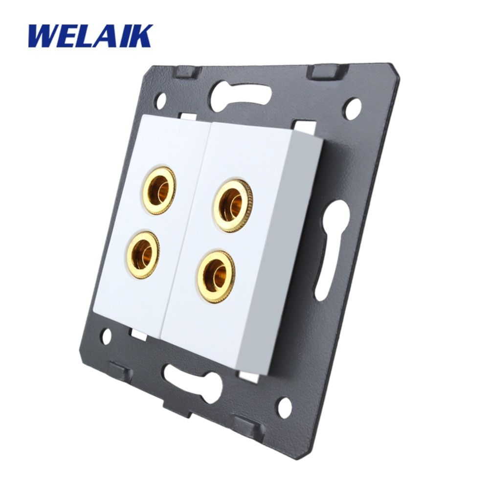WELAIK EU Standard 2 speaker Socket DIY Parts White parts wall speaker socket Without Glass Panel A82SOW