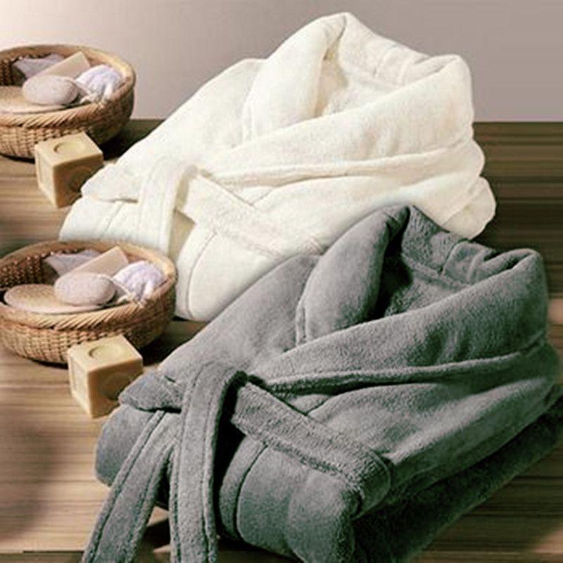 Amoureux Robe pour Hommes et Femmes Chaud Super Doux Flanelle Corail polaire Long Bain Robe Mens Kimono Peignoir Mâle Robe de Chambre Robes