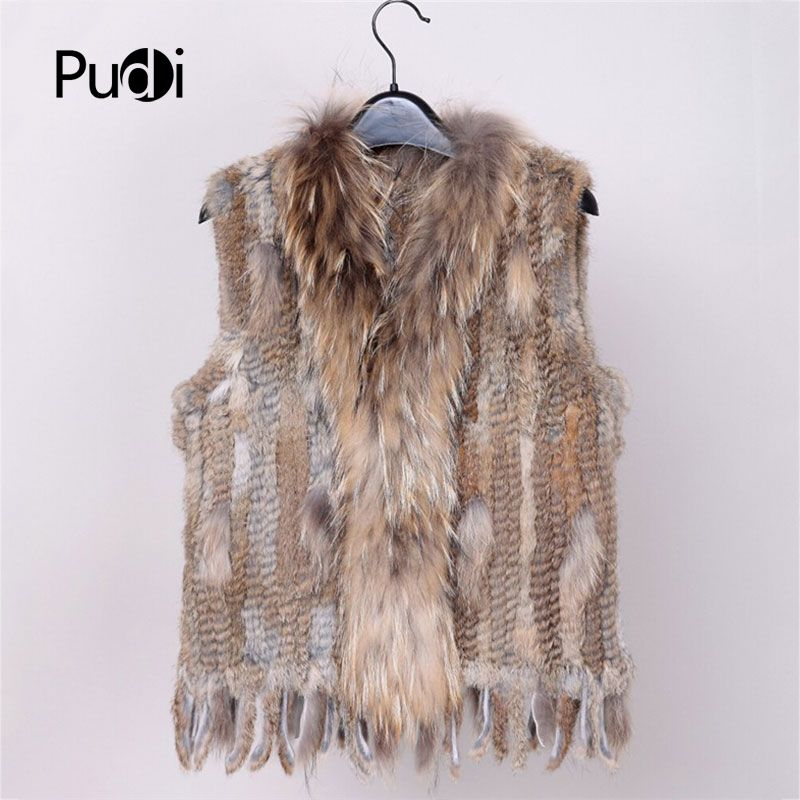 2018 new colors Women Genuine real Rabbit Fur Vest coat tassels Raccoon Fur collar Waistcoat wholesale drop shipping VR032