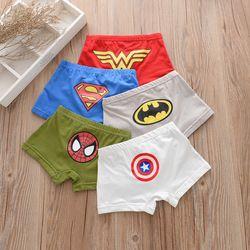 5 Pcs/lot Kartun Anak Celana Pendek Celana Dalam Ironman Batman Kapten Spiderman Desain Anak Petinju Anak-anak Underpanties Katun Lembut Petinju