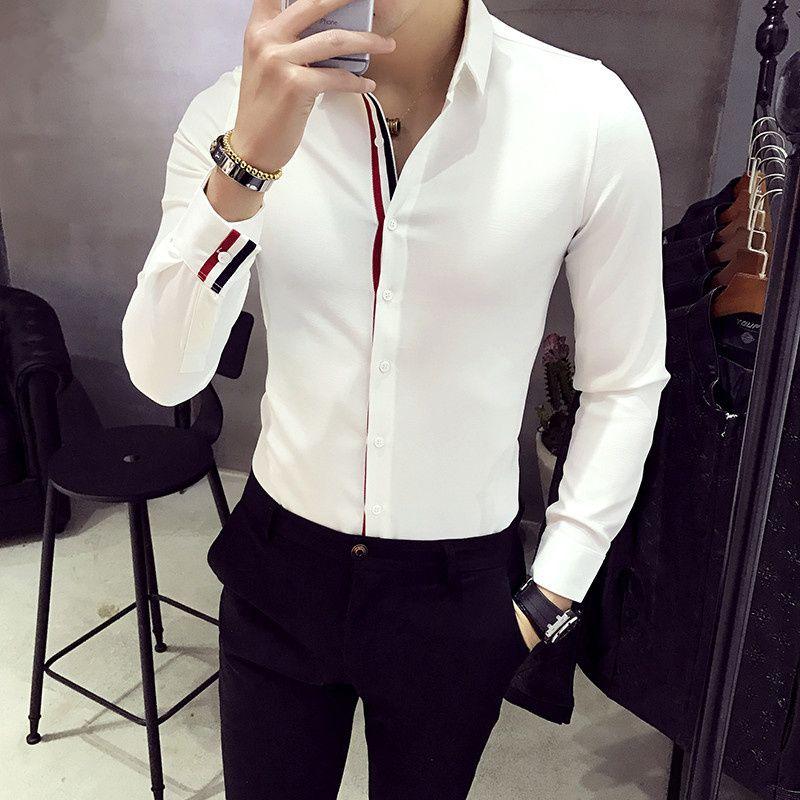 XMY3DWX hommes à manches longues chemise personnalité vente marque Europe le design mince corps robe chemise mode loisirs affaires chemise