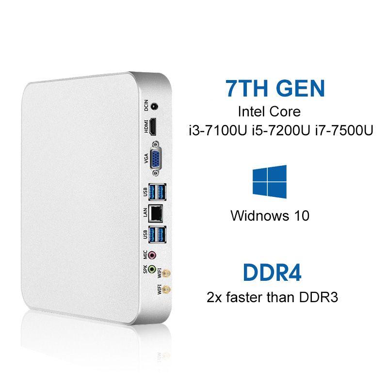 Mini PC i7-7500U i5-7200U i3-7100U 8 gb DDR4 240g SSD Windows 10 & 8,1 4 karat UHD HDMI VGA Dual display 6 * USB 300 mt WiFi HTPC