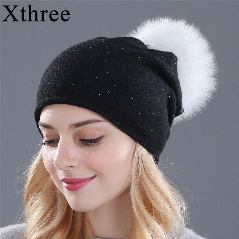 [Xthree] зимняя шапка для женщин шерсть вязаные шапочки крышка натуральным лисьим мехом помпонами шляпы однотонные gorros шапки женский крышка