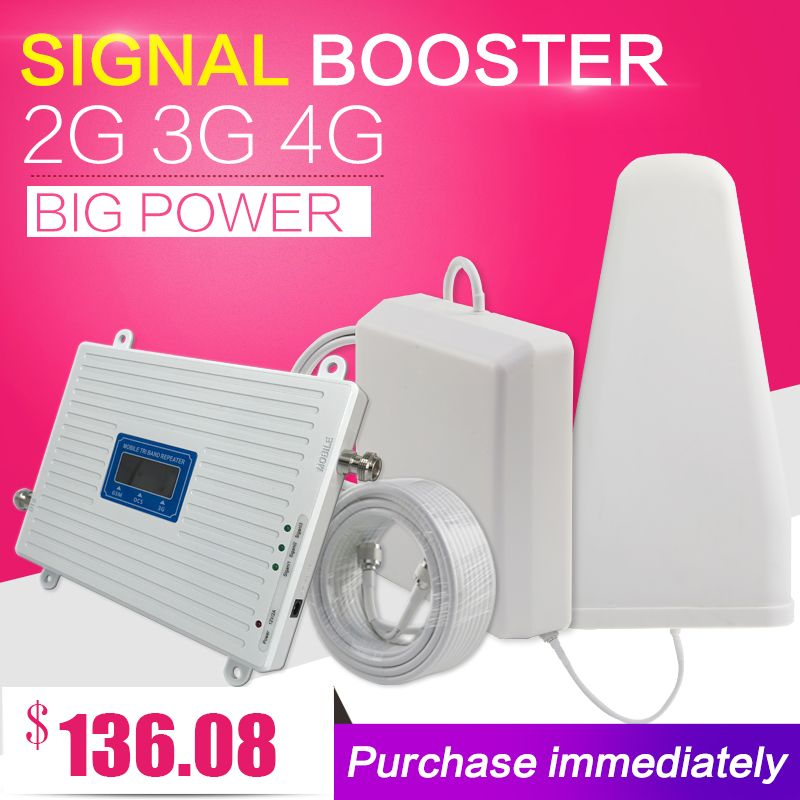 2G 3G 4G Triple band Cell Phone Signal Booster 70dB GSM 900 LTE 1800 <font><b>WCDMA</b></font> 2100 mhz Mobile Cellular Signal Repeater Antenna Set