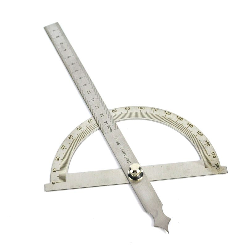 0-180 Degree Angle Ruler Round Head Rotary Protractor 150mm Adjustable Universal Stainless Steel Measuring Tool