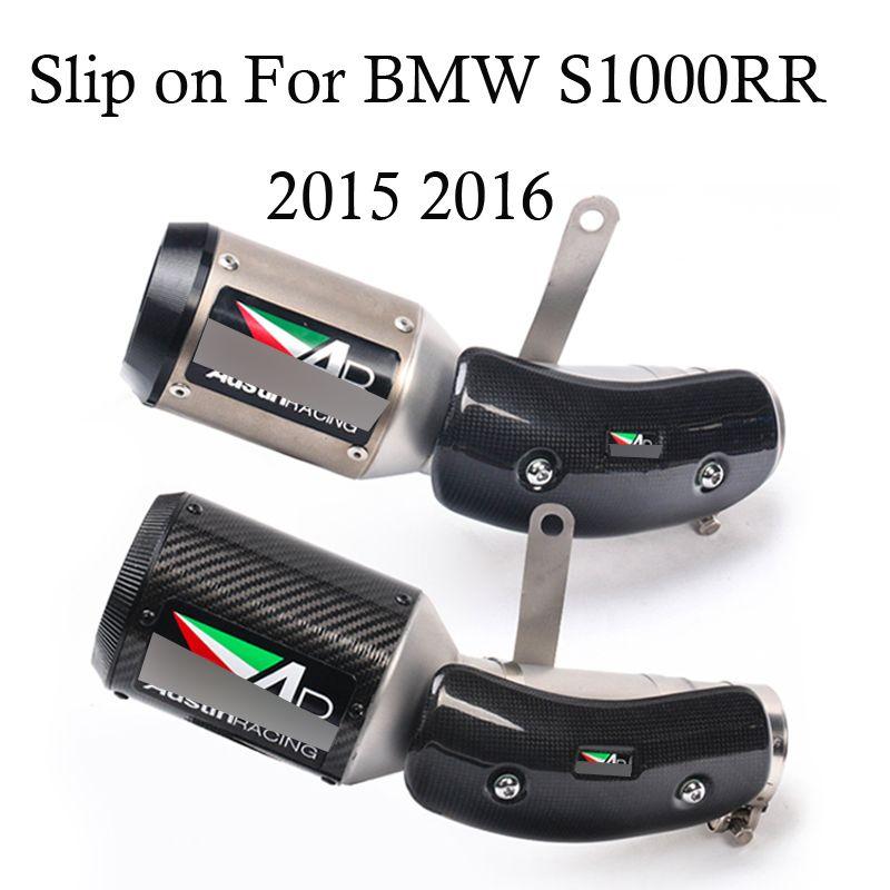 4 farbe Erhältlich Slip auf Für BMW S1000RR 2015 2016 Auspuff Motorrad Schalldämpfer Ecsape Carbon Faser + edelstahl