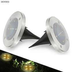 DONWEI Outdoor 4 LED Solar Lamp Automatically Open at Night Waterproof Ground Light for Garden Lawn Path