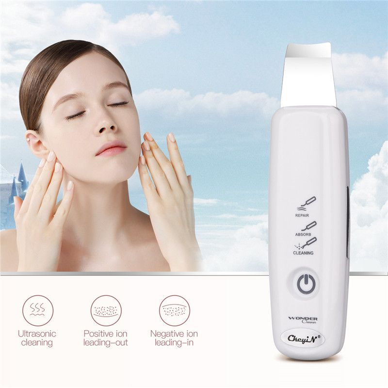 Ultrasonic Face Pore Cleaner Ionic Skin Scrubber Exfoliator Dermabrasion Ultrasound Vibration Massager Facial Deep Clean SkinSPA